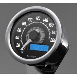 Compteur Daytona Velona Speed 200 kmh led blanc