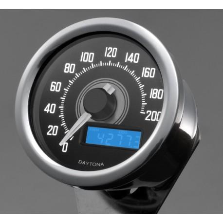 Compteur Daytona Velona Speed 200 kmh led blanc inox
