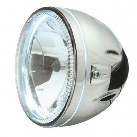 Optique rond 146mm contour leds chrome