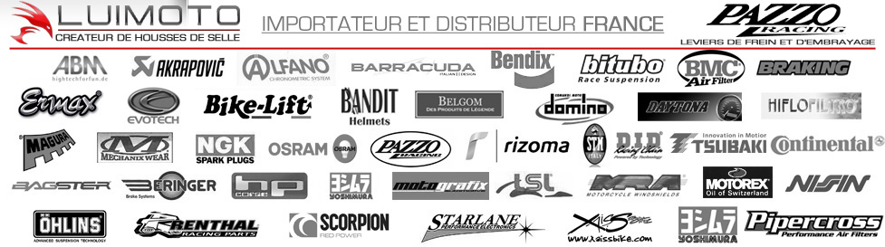 A.Sider,ABM,Acewell,Akrapovic,Alfano,Axio,Bagster,Bandit Helmets,Barracuda,Belgom,Beringer,Bike-Lift,Bitubo,BMC,Ermax,Evotech,Pazzo racing,Pipercross,Yoshimura,Rizoma,Renthal,RG Racing sur xaissbike.com - pièces et accessoires moto