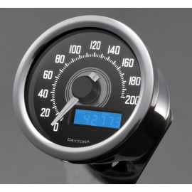 Compteur Daytona Velona Speed 200 kmh led blanc inox